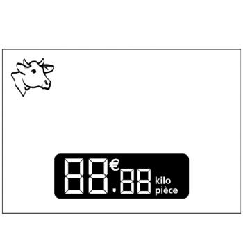 Étiquette blanche pour présenter les fromages de vache