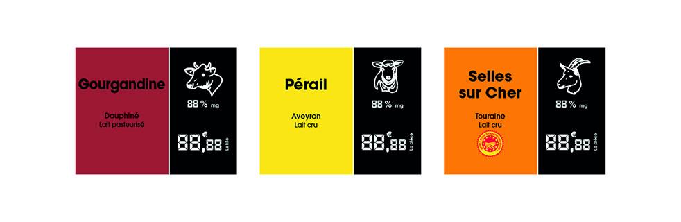 Étiquettes bicolores pour les vitrines de fromagers