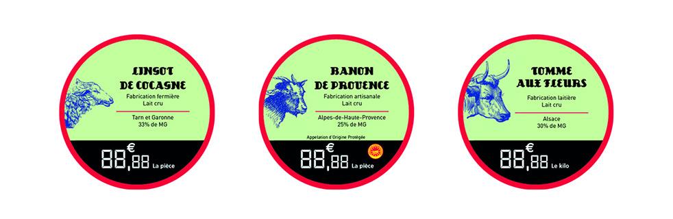 Étiquettes à fromage rondes